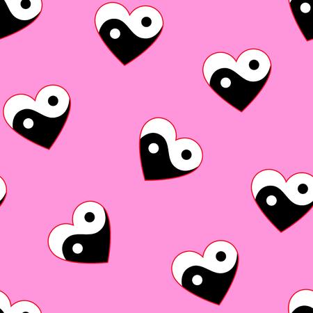 Horizontales corazones de yang del yin en trama de fondo transparente de color rosa