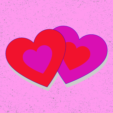 romantic couple: Double red purple hearts on pink retro background