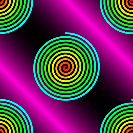 rosa negra: Abstract gradient blue to red spirals on pink black background seamless pattern