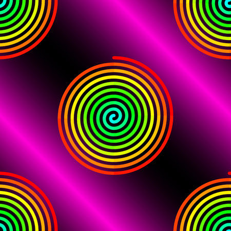 curl whirlpool: Abstract gradient red to blue spirals on pink black background seamless pattern
