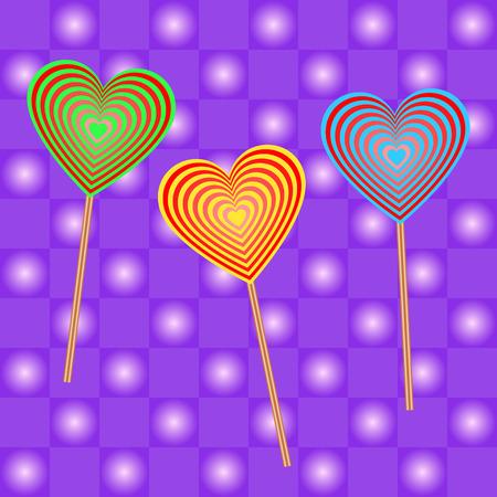 three colored: Three colored lollipops Illustration