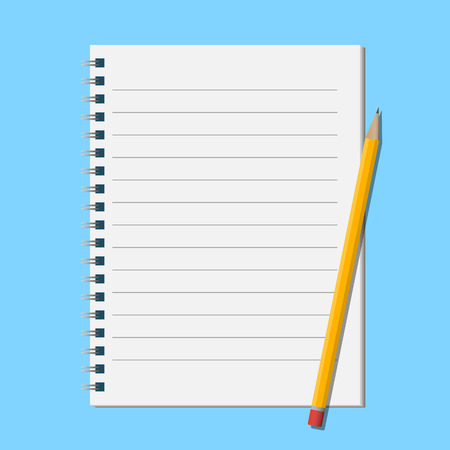 notepads: Pencil on open notepad Illustration