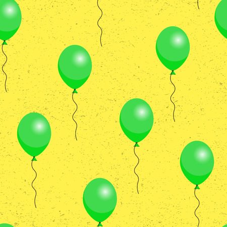 green balloons: Green balloons on yellow background seamless pattern