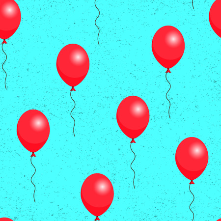 red balloons: Red balloons on blue background seamless pattern