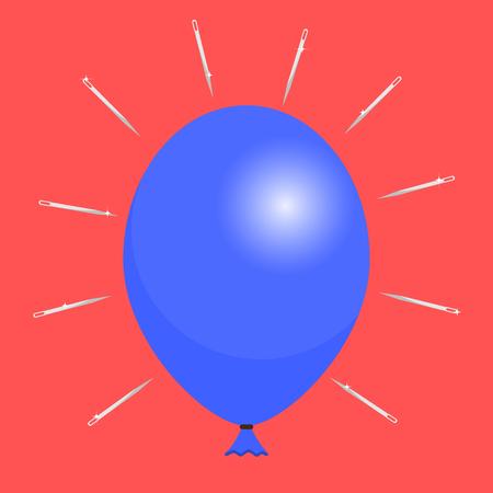 needles: Blue balloon and needles Illustration