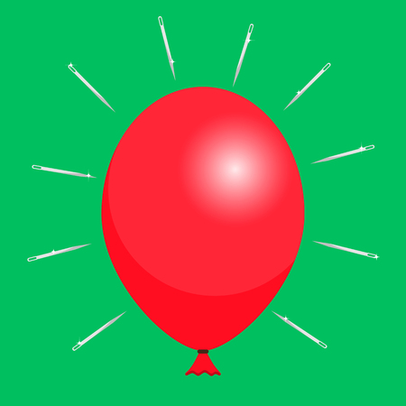 explosion risk: Red balloon and needles