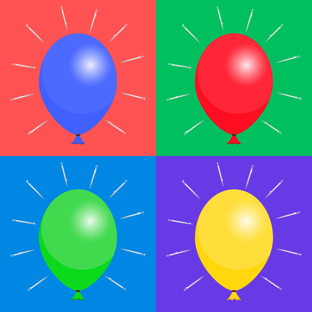 colored balloons: Set of colored balloons and needles