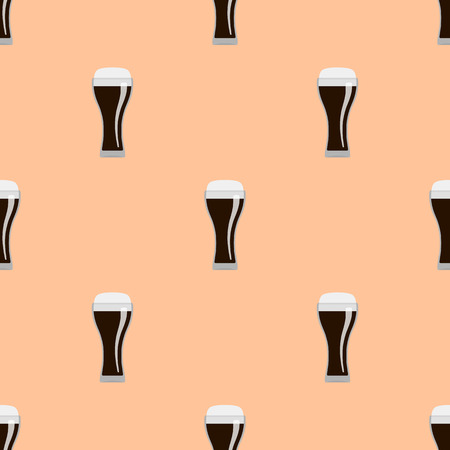 dark beer: Glasses of dark beer seamless pattern