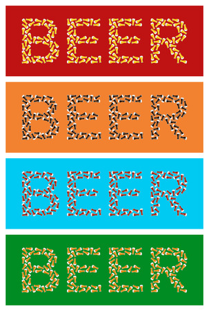 stout: Set of beer logos of beer glasses on colored backgrounds