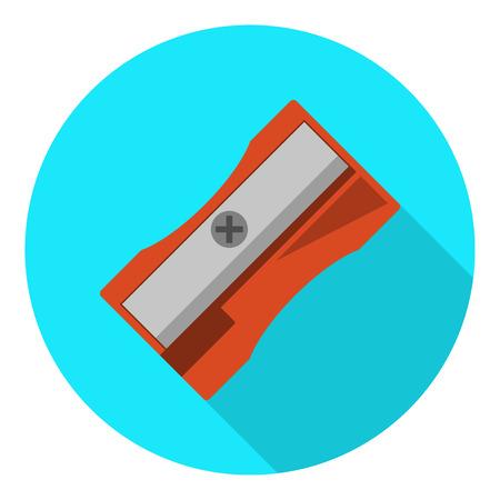 sharpening: Red sharpener with shadow on blue round background. Flat logo