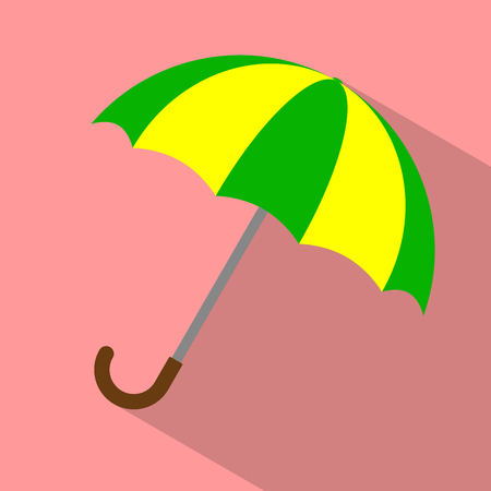 yellow umbrella: Striped green yellow umbrella on red background. Flat icon Illustration