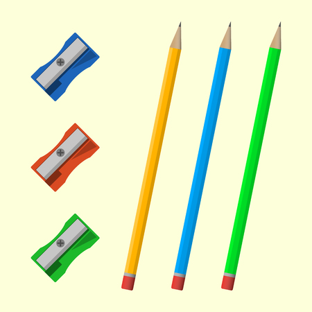 sharpeners: Set of colored pencils and sharpeners