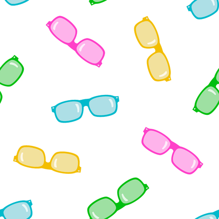 spectacle frame: Colored sunglasses on white background. Seamless pattern.