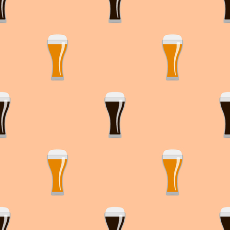 Glasses of dark and wheat beer. Seamless pattern. Illustration
