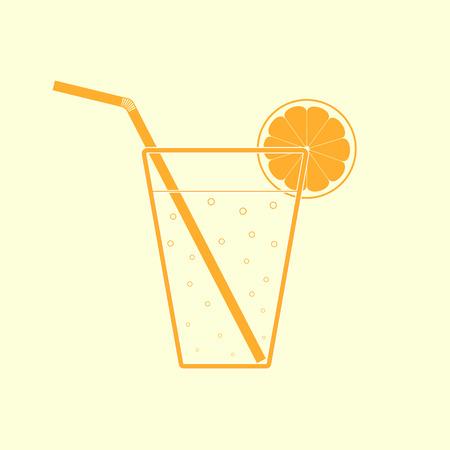 lemon slice: Orange glass of lemonade with straw and lemon slice. Flat icon.
