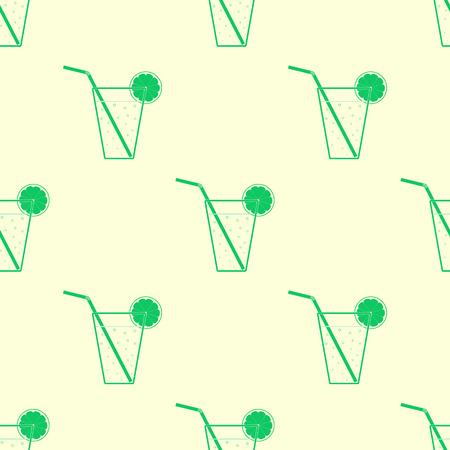 green glasses: Green glasses of lemonade with straws and lemon slices. Seamless pattern.