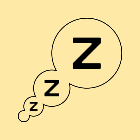 sleeper: Z letters in straight bubbles from left bottom corner. Sleep .