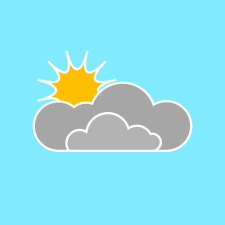 Cloud and sun on blue background. Flat icon. Illustration