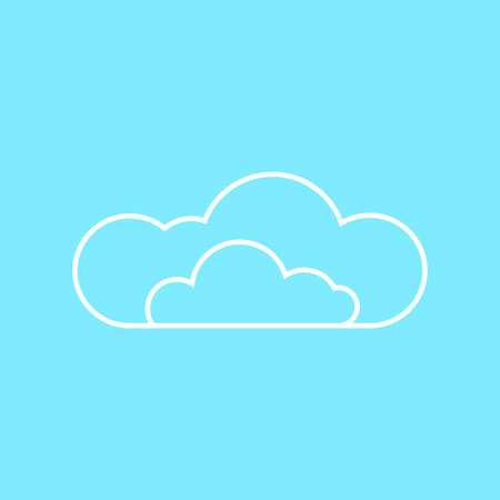 overcast: Cloud on blue background. Line flat icon.