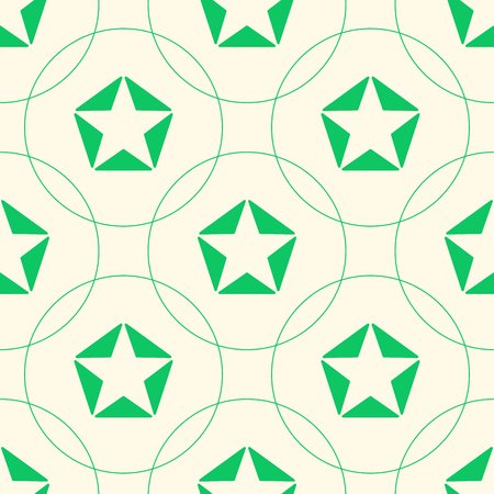 green stars: Green stars of triangles and circles. Seamless pattern. Illustration