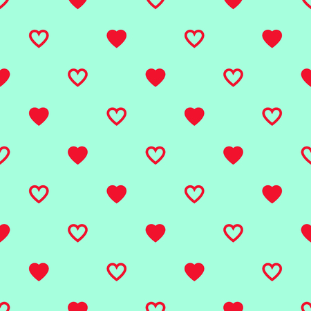 Solid and lined red hearts alternate on blue background.pattern. Illustration