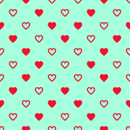 Solid and lined red hearts crossing on blue background.  pattern.