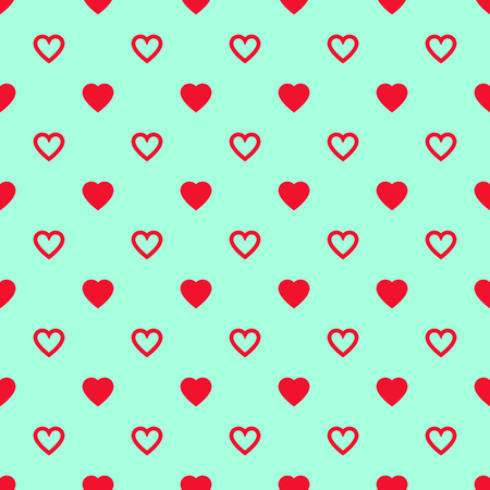 Solid and lined red hearts mixed on blue background. Seamless pattern. Illustration
