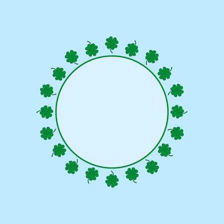 Circle frame with green four-leaf clovers.