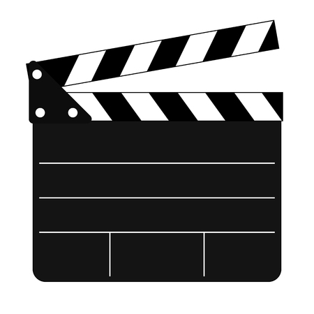 flick: Clapper board with lines. Flat icon.
