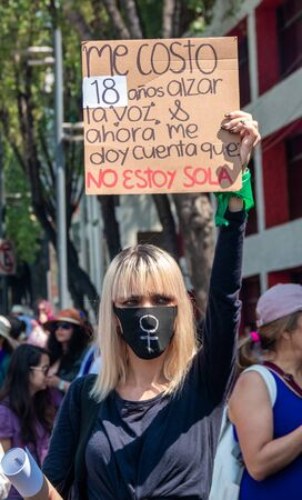 MEXICO CITY, MEXICO - 03/08/2020: Several feminist protesters participate in a protest against gender-based violence against women.