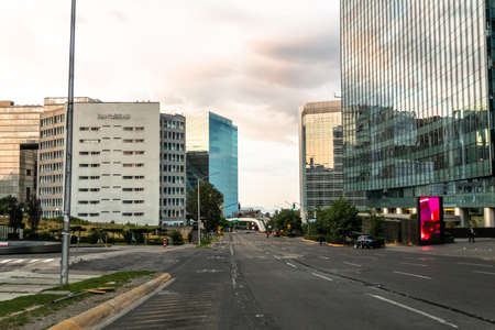 Santa Fe, Mexico City: June 9, 2020. Streets of the financial center of Mexico City, emptied by the covid quarantine 19. Coronavirus