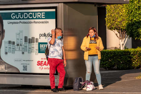 Santa Fe, Mexico City: June 9, 2020. People on the street wearing surgical masks, due to the covid 19 pandemic. Coronavirus