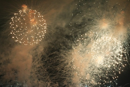 Explosion of the Fireworks in the night sky photo