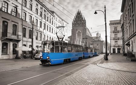 tram: blue tram