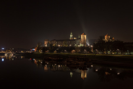 wawel: Cracow by night Stock Photo