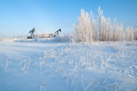 Winter Landscape with oil pumps. Western Siberia.