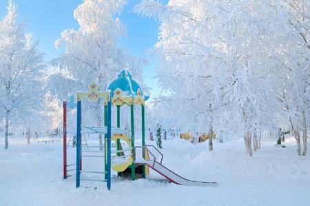 Playground in a kindergarten in the winter. Stock Photo