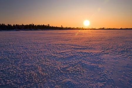 Winter landscape. Sunset.