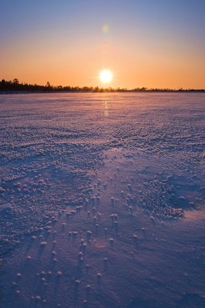 Winter landscape. Sunset. photo