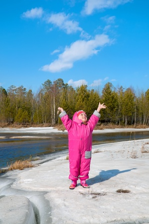 pine creek: The girl of three years rejoices to approach of spring