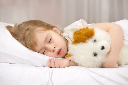 Little girl sleeping in bed with a soft toy.