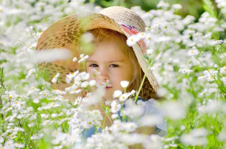 The little girl in a straw hat among the daisies Stock Photo - 12504206