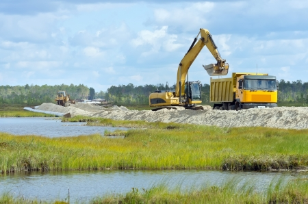 swamp: Oil pipeline construction on the marshland