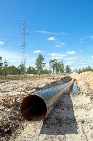 Construction of the pipeline in Western Siberia