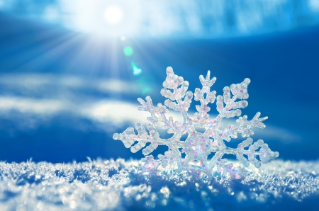 sun flare: Snowflake light sunset