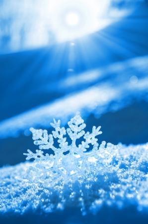 resfriado: Copo de nieve de la luz del atardecer Foto de archivo
