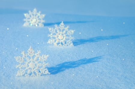 Decorative snowflakes on snow Stock Photo - 16882567