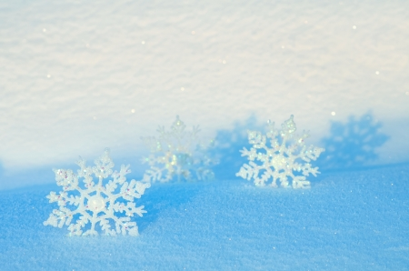 Decorative snowflakes on snow Stock Photo - 16917442