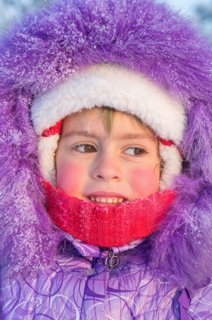 Portrait of little girl close-up on a cold day Stock Photo - 17082064