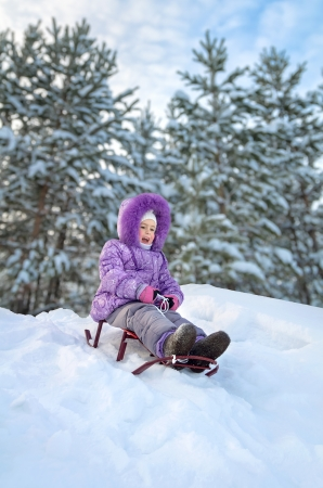 Little girl sledding in the winter day Stock Photo - 17132814